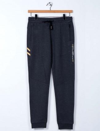 Maml grey cotton solid night mens track pant