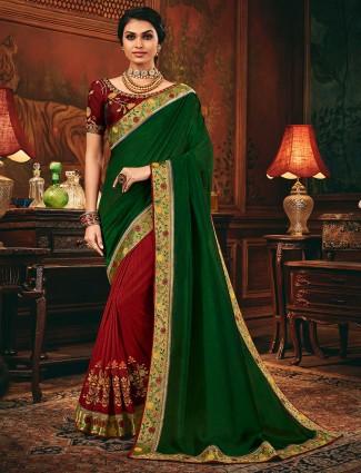 Maroon and green half and half cotton silk saree
