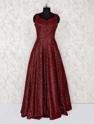 Maroon beautiful net gown