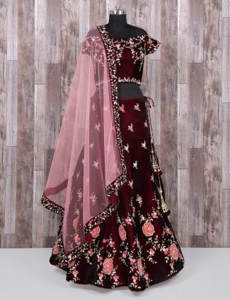Maroon bridal wear velvet lehenga choli