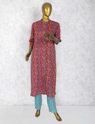 Maroon color cotton printed punjabi salwar suit