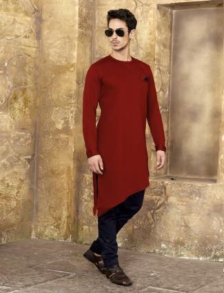 Maroon color kurta suit in cotton
