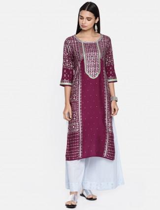 Aurelia maroon color round neck cotton kurti