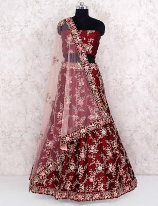 Maroon color semi stitched lehenga choli