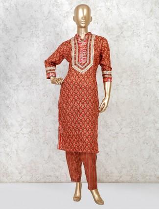 Maroon cotton punjabi pant style salwar suit