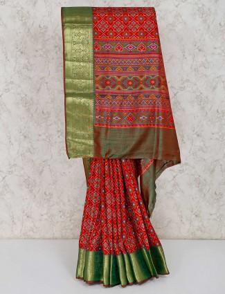 Maroon cotton silk festive function saree