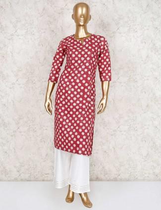Maroon cotton silk punjabi palazzo suit