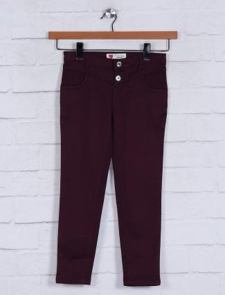 Maroon denim girls jeans