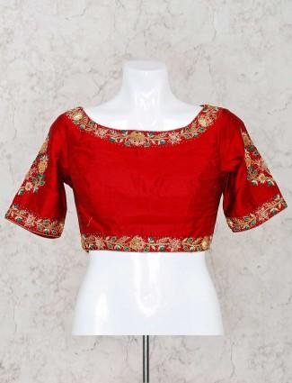 Maroon designer raw silk ready made blouse