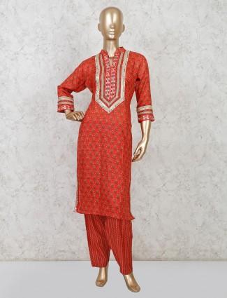 Maroon festive wear cotton salwar suit
