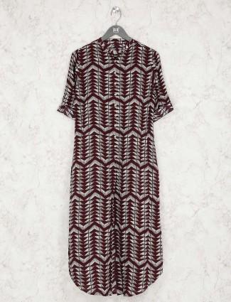 Maroon hue cotton fabric printed casual kurti