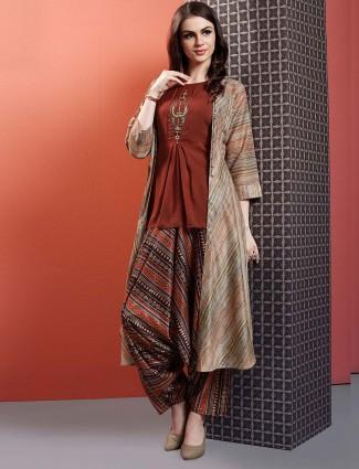 Maroon hue cotton festive dhoti suit