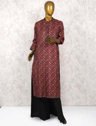 Maroon hue cotton punjabi palazzo suit