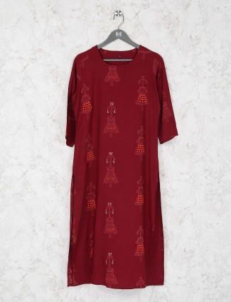 Maroon hue festive wear kurti set in cotton fabric