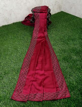 Maroon hue gorgeous satin fabric saree