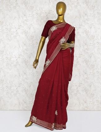 Maroon hue pretty satin silk saree