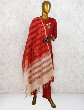 Maroon hue punjabi salwar suit in cotton silk fabric