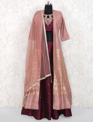 Maroon hue raw silk fabric lehenga choli
