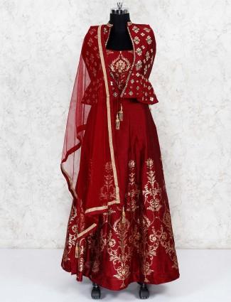 maroon hue raw silk jacket style lehenga choli