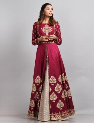 Maroon hue silk floor length anarkali suit
