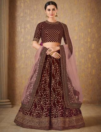 Maroon hue velvet fabric lehenga choli