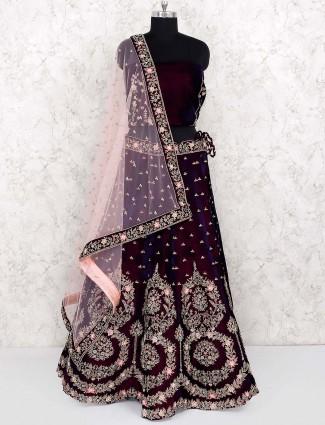 Maroon hue velvet semi stitched lehenga choli