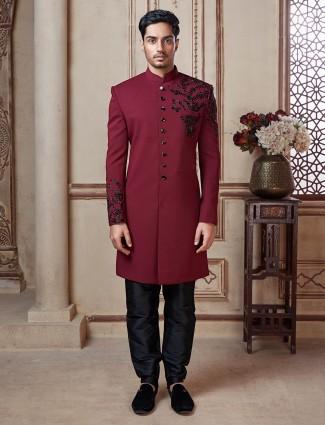 Maroon mens indowestern dress