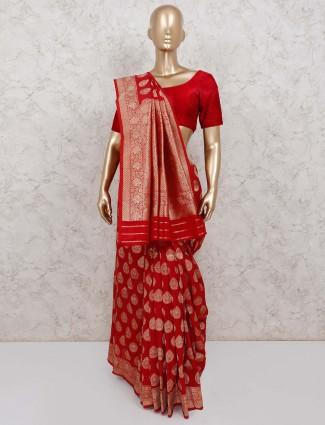Maroon pretty wedding banarasi silk saree