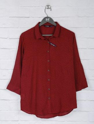 Maroon printed georgette fabric casual top