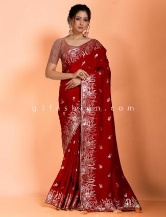 Maroon saree in dola silk