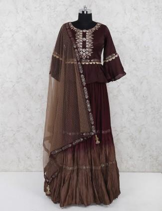 Maroon silk fabric peplum style festive lehenga choli