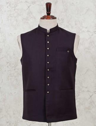 Maroon solid cotton silk waistcoat