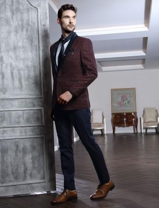 Maroon terry rayon tweed design coat suit