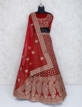 Maroon velvet semi stitched bridal wear lehenga choli
