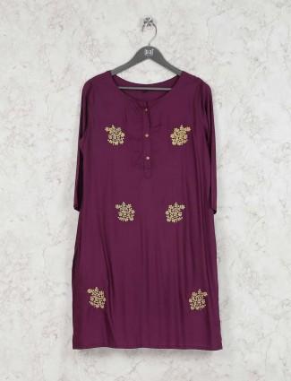 Maroon wine cotton fabric round neck kurti set