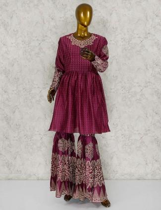 Maroon wine festive punjabi sharara suit in cotton silk