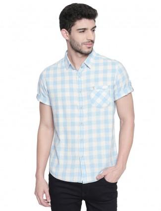 Mufti light blue checks cotton shirt