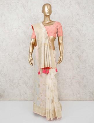 Muga silk off white saree for festivals