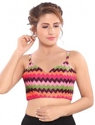 Multicolour cotton silk readymade blouse