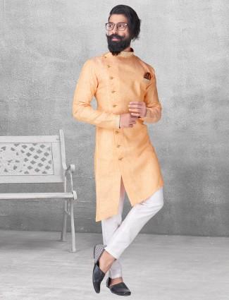Mustard yellow color silk kurta suit