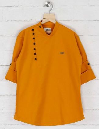 Mustard yellow cotton fabric boys kurta