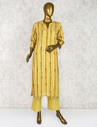 Mustard yellow cotton pant style salwar suit