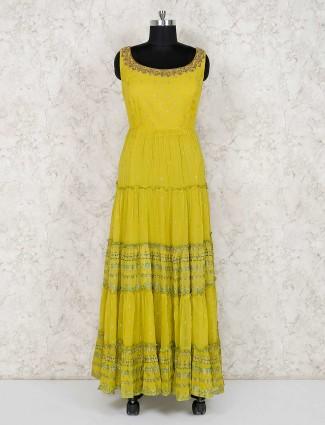 Mustard yellow floor length anarkali salwar suit in georgette
