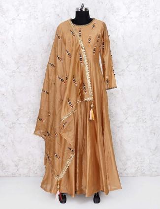 Mustard yellow floor length anarkali salwar suit in silk