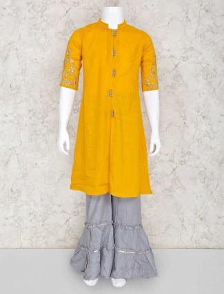Mustard yellow palazzo set in cotton