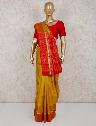 Mustard yellow south silk saree
