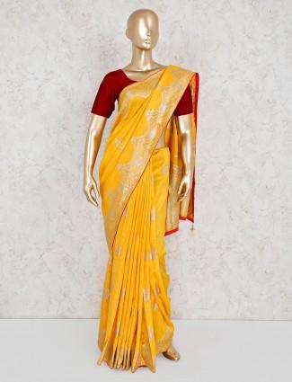 Mustard yellow wedding saree in silk
