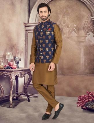 Navy and olive thread woven raw silk waistcoat set