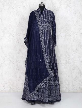 Navy blue cotton floor length anarkali salwar suit