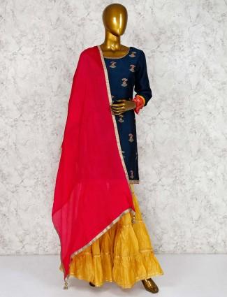 Navy blue cotton silk punjabi style sharara suit